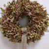 Szárított buxus őszi ajtókoszorú természetes díszítéssel