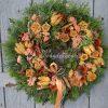 Őszi ajtókoszorú zöld alapon, sárga-narancs színben