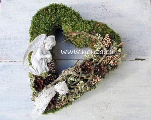 Moha szív angyalkával, termésekkel