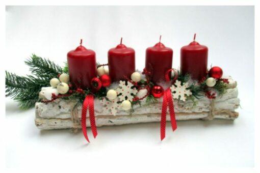 Adventi asztaldísz bordó/piros és fehér színösszeállításban