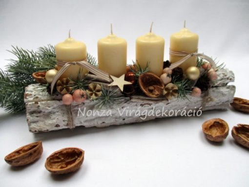 Adventi asztaldísz krém és barna színekkel