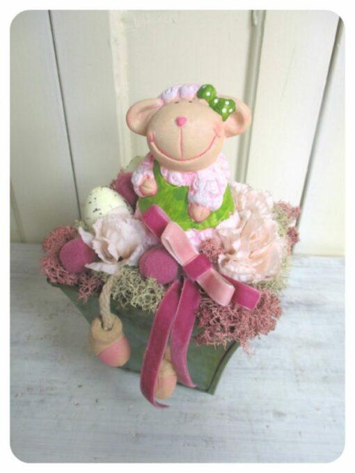 Tartós húsvéti asztaldísz rózsaszín barival