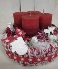 Piros-fehér kötött adventi box