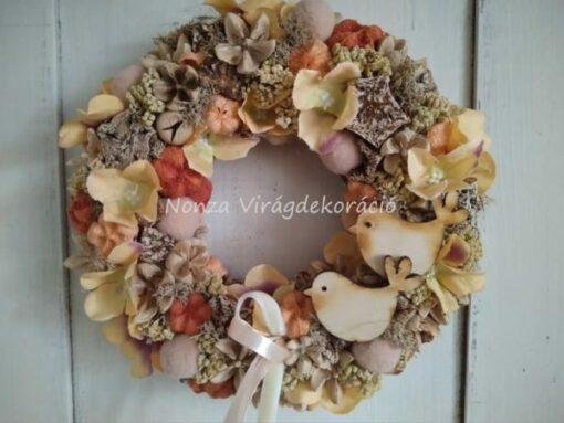 Tartós ajtókoszorú krém-narnacs-barna színben, madárkákkal