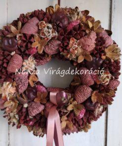 Őszi ajtókoszorú termésekkel, mályva - barna színben