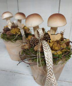 Natúr őszi asztaldísz gombával, termésekkel