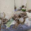Havas-deres kék-fehér adventi koszorú