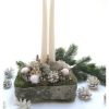 Adventi asztaldísz angyalkával, fehér-ezüst színben
