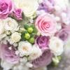 Pasztell lila menyasszonyi csokor részlet