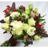 Őszi menyasszonyi csokor piros-fehér színben