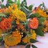 Szülőköszöntő csokor esküvőre narancs színben